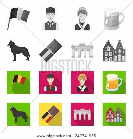 Chocolate, Cathedral And Other Symbols Of The Country.belgium Set Collection Icons In Monochrome, Fl