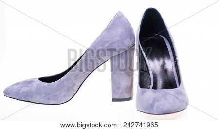 Shoes Made Out Of Grey Suede On White Background, Isolated. Pair Of Fashionable High Heeled Shoes. F