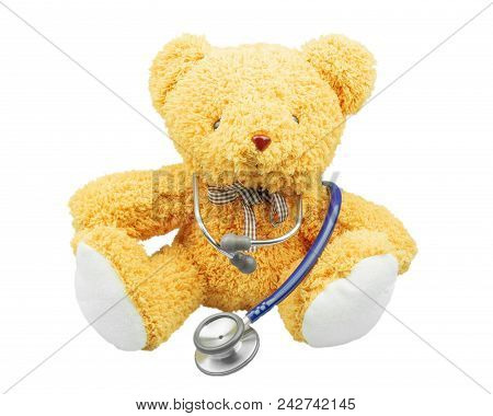 Children Doctor Concept, Teddy Bear With Stethoscope Isolated On White Background, Doctor Teddy Bear