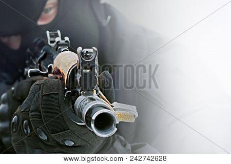 Machine Gun In The Hands Of The Killer