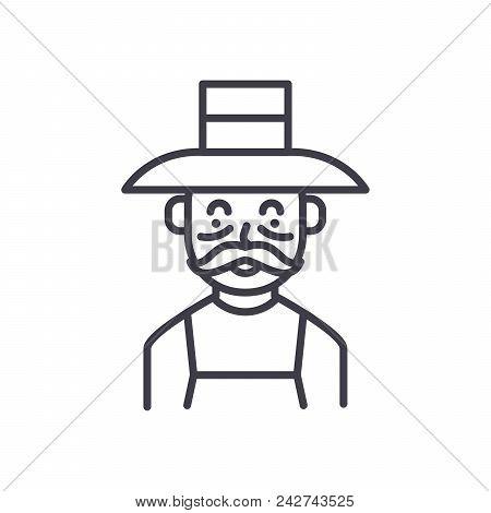 Elderly Farmer Black Icon Concept. Elderly Farmer Flat  Vector Website Sign, Symbol, Illustration.
