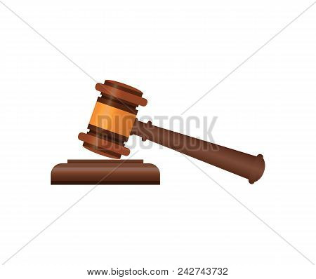 Wooden Judge Gavel And Soundboard Isometric 3d Element. Law And Judgment, Auctioneer Tool Vector Ill
