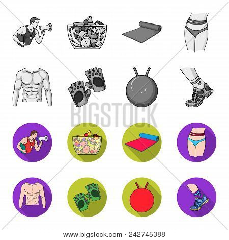 Men Torso, Gymnastic Gloves, Jumping Ball, Sneakers. Fitnes Set Collection Icons In Monochrome, Flat