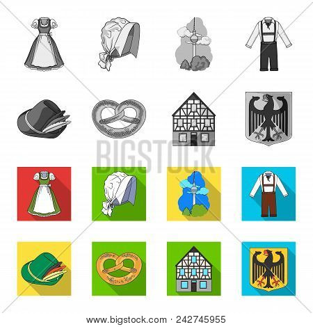 Country Germany Monochrome, Flat Icons In Set Collection For Design. Germany And Landmark Vector Sym