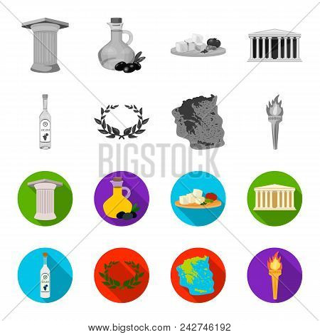 Greece, Country, Tradition, Landmark .greece Set Collection Icons In Monochrome, Flat Style Vector S