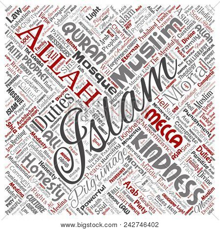 Conceptual islam, prophet, mosque square red word cloud isolated background. Collage of muslim, ramadam, quran, pilgrimage, allah, duties, art, calligraphy, oriental, tradition concept