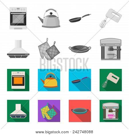 Kitchen Equipment Monochrome, Flat Icons In Set Collection For Design. Kitchen And Accessories Vecto