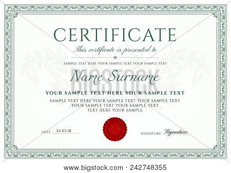 Certificate Template. Printable / Editable Design For Diploma, Certificate Of Appreciation, Certific