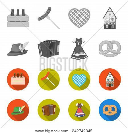 Tyrolean Hat, Accordion, Dress, Pretzel. Oktoberfest Set Collection Icons In Monochrome, Flat Style