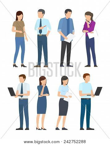 Startup Poster Set Of Business People Men And Women Busy At Work. Teamwork And Leadership Concept, W