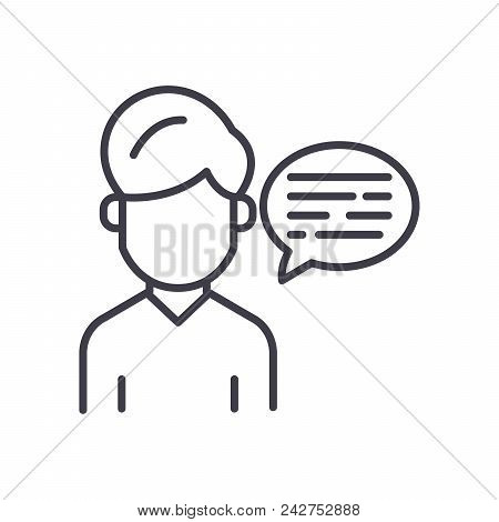 Verbal Communication Black Icon Concept. Verbal Communication Flat  Vector Website Sign, Symbol, Ill