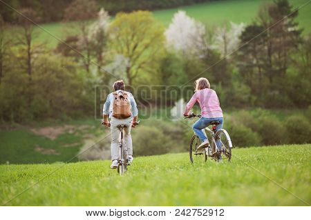 Beautiful Senior Couple Outside In Spring Nature, With Bicycles Cycling On Grassland. Rear View.