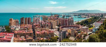 Malaga, Spain. May 26, 2108. Panoramic View Of The Malaga City, Harbor And Bullfighting Arena, Costa