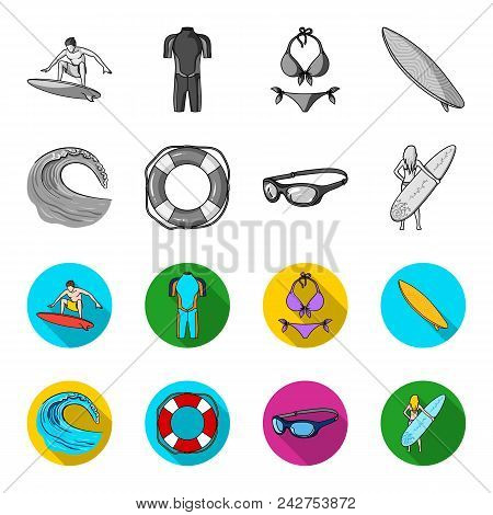 Oncoming Wave, Life Ring, Goggles, Girl Surfing. Surfing Set Collection Icons In Monochrome, Flat St