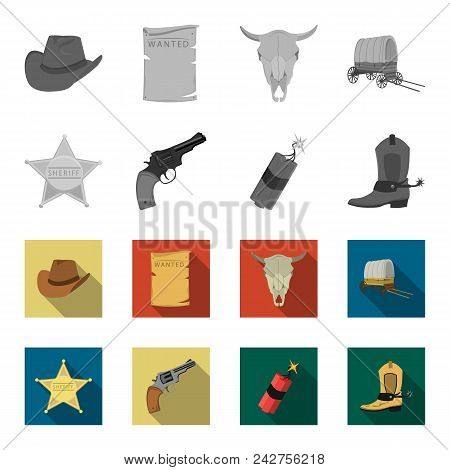 Star Sheriff, Colt, Dynamite, Cowboy Boot. Wild West Set Collection Icons In Monochrome, Flat Style