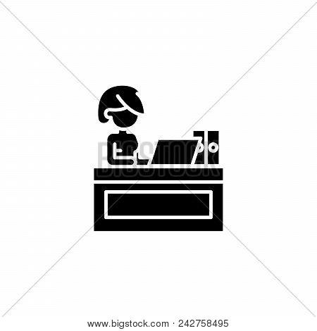 Secretary At Office Black Icon Concept. Secretary At Office Flat  Vector Website Sign, Symbol, Illus