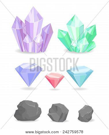 Collection Of Color Crystals And Minerals, Precious Diamonds, Natural Rocks And Heavy Stones Vector.