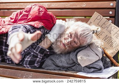 I Need Help. Unhappy Poor Man Looking At You While Needing Social Help