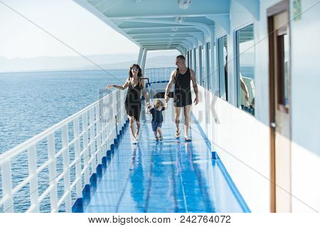 Family Ship Travel With Kid On Mothers Or Fathers Day. Mother And Father With Son In Sea Trip. Summe
