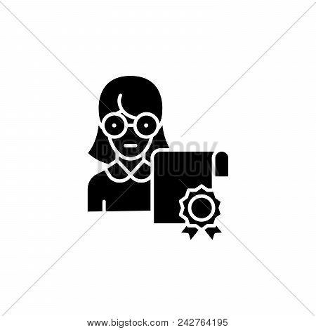 Specialist Certificate Black Icon Concept. Specialist Certificate Flat  Vector Website Sign, Symbol,