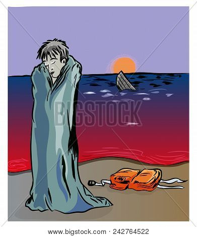 Civil War In Syria And Refugees Problem.   Unhappy Syrian Refugee On The Coastline. Syrian Refugee A