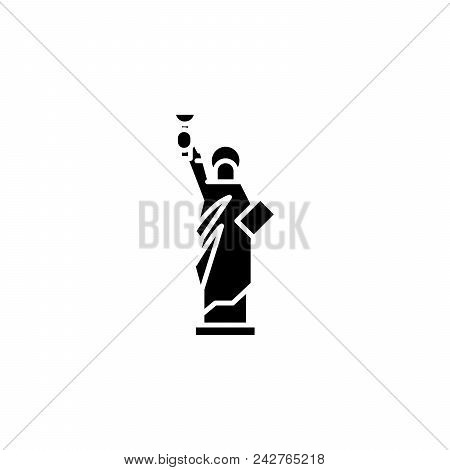 Statue Of Liberty Black Icon Concept. Statue Of Liberty Flat  Vector Website Sign, Symbol, Illustrat