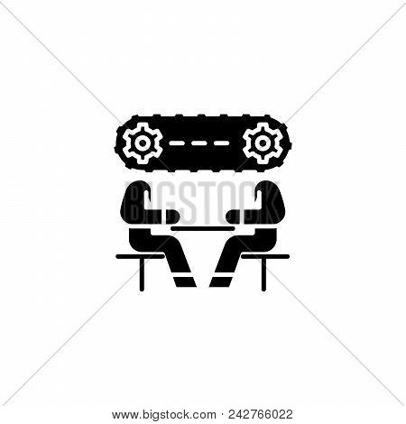 Strategy Discussion Black Icon Concept. Strategy Discussion Flat  Vector Website Sign, Symbol, Illus