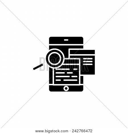 Studying Feedbacks Black Icon Concept. Studying Feedbacks Flat  Vector Website Sign, Symbol, Illustr