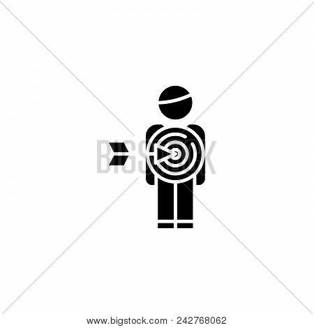 Target Audience Black Icon Concept. Target Audience Flat  Vector Website Sign, Symbol, Illustration.