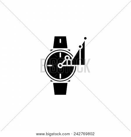 Time-keeper Black Icon Concept. Time-keeper Flat  Vector Website Sign, Symbol, Illustration.