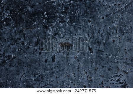Old Weathered Dark Metal Surface With Scratches And Stains. Aged Metallic Texture. Abstract Grunge B