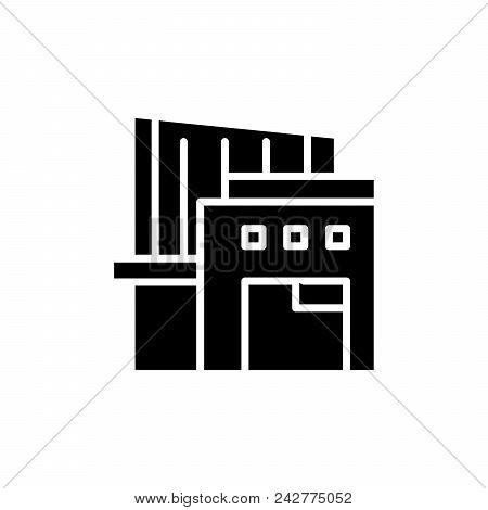 Warehouse Complex Black Icon Concept. Warehouse Complex Flat  Vector Website Sign, Symbol, Illustrat