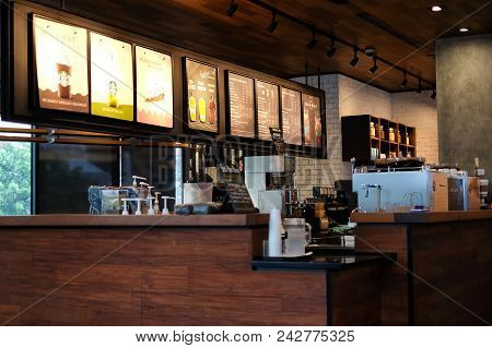 Bangkok, Thailand - May 22, 2018 : Interior Drink & Dessert Cafe (payment Counter) At Starbucks Coff