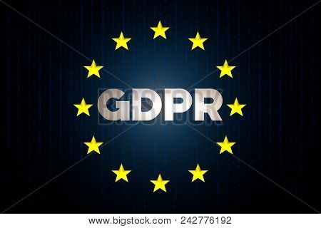 Gdpr Cyber Security Data Concept With Europe Star Flag With Matrix