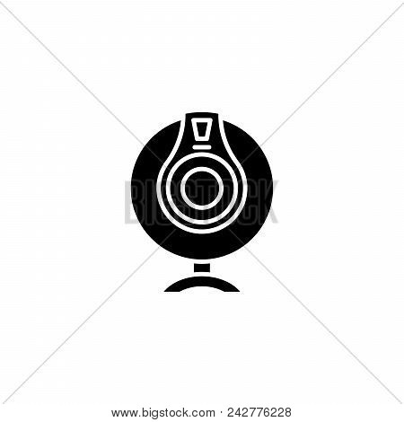 Webcam black icon concept. Webcam flat  vector website sign, symbol, illustration. poster