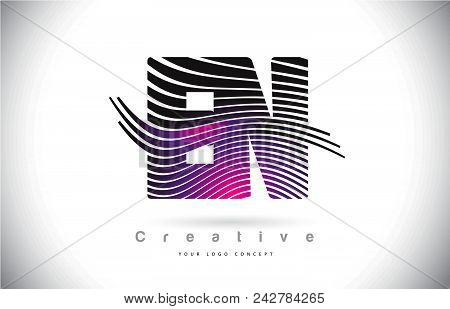 En E N Zebra Texture Letter Logo Design With Creative Lines And Swosh In Purple Magenta Color Vector