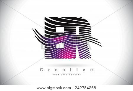 Er E R Zebra Texture Letter Logo Design With Creative Lines And Swosh In Purple Magenta Color Vector