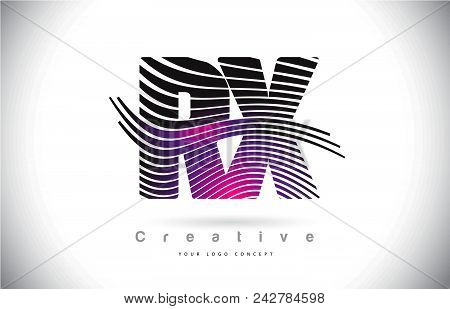 Rx R X Zebra Texture Letter Logo Design With Creative Lines And Swosh In Purple Magenta Color Vector