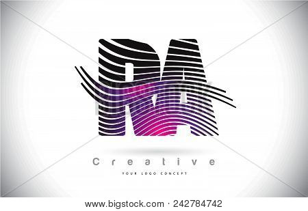 Ra R A Zebra Texture Letter Logo Design With Creative Lines And Swosh In Purple Magenta Color Vector