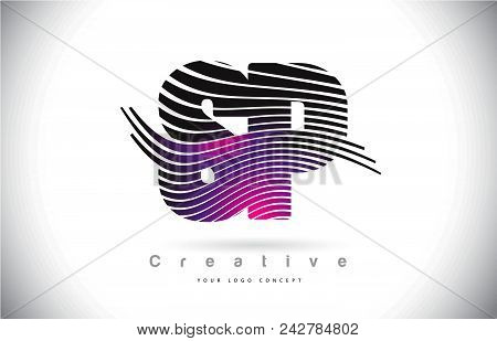 Sp S P Zebra Texture Letter Logo Design With Creative Lines And Swosh In Purple Magenta Color Vector