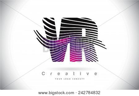 Vr V R Zebra Texture Letter Logo Design With Creative Lines And Swosh In Purple Magenta Color Vector