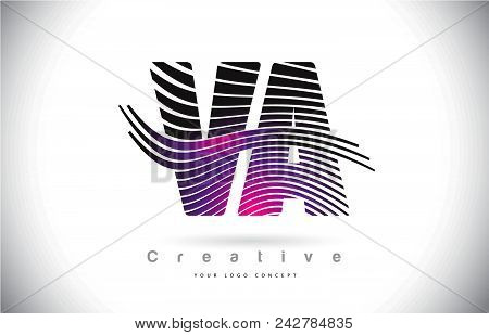 Va V A Zebra Texture Letter Logo Design With Creative Lines And Swosh In Purple Magenta Color Vector