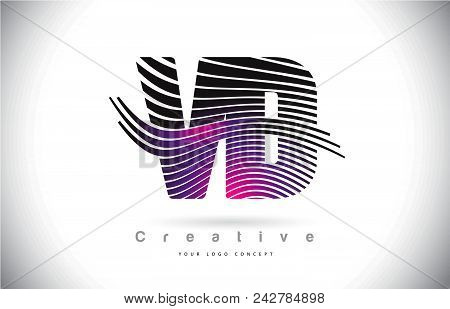 Vd V D Zebra Texture Letter Logo Design With Creative Lines And Swosh In Purple Magenta Color Vector