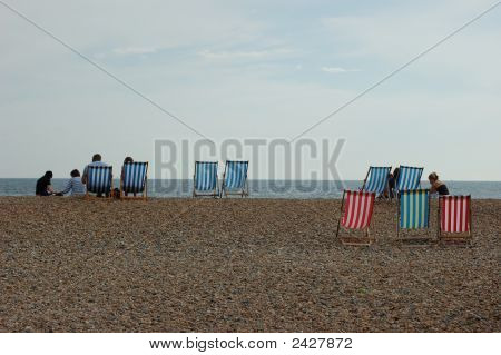 Deckchairs On The Beach In Brighton