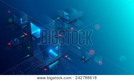 Blockchain Concept Banner. Isometric Digital Blocks Connection With Each Other And Shapes Crypto Cha