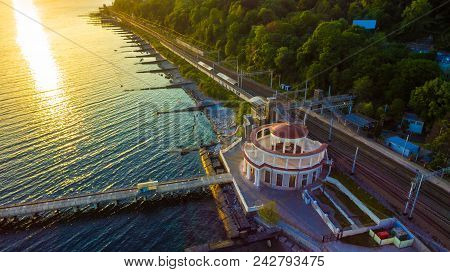 Drone View Of The Pier And The Matsesta Marine Station Near The Railway Station In Summer Day At Sun