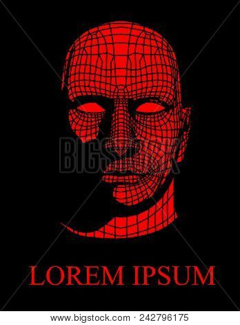Head Of The Person From A 3d Grid. Geometric Face Design. Polygonal Covering Skin. 3d Vector Head Fr