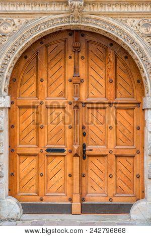 Closeup Of A Beautiful Wooden Door In The Building