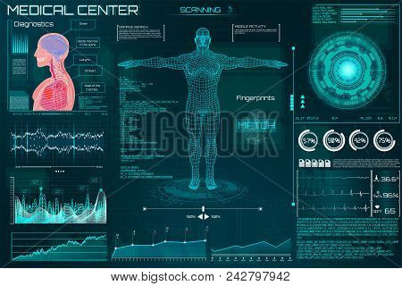 Hud Element Ui Medical Examination. Display A Set Of Virtual Interface Elements. Health Technology V