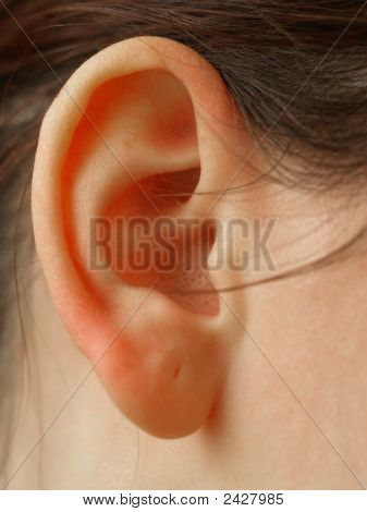 woman ear macro hair noise lound listening poster